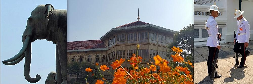 """Foto Vimanmek Mansion (tengah, istana jati terbesar dunia) diapit foto-foto Grand Palace dengan pergantian shift penjaga (kanan) dan gajah logam (kiri, """"saudaranya"""" ada di Museum Gajah aka Museum Nasional, Jakarta)."""